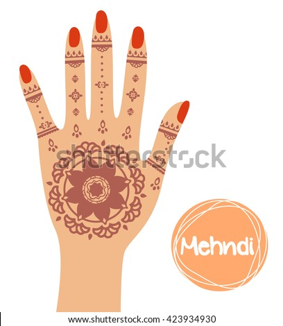 henna tattoo mehndi hand vector illustration stock vector hd rh shutterstock com Henna Wallpaper Henna Drawings Designs