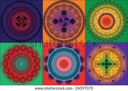 Henna tiled background - stock vector