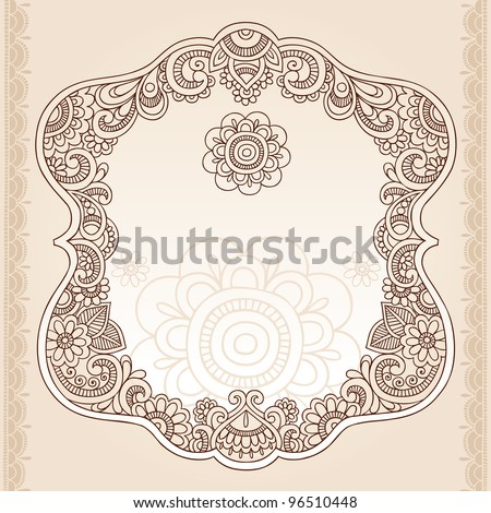 Henna Vintage Frame Mehndi Doodles Paisley Design Elements- Vector Illustration - stock vector