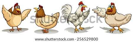 Hens and rooster on a white background - stock vector