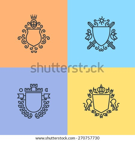 Herald logo template on shields set, armors, crowns, lions and other - stock vector
