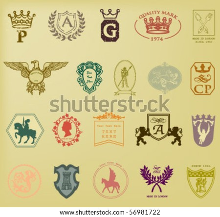 HERALDIC AND ROYAL SYMBOLS. QUALITY MARKS SUCH AS LOGO. Vector illustration file. - stock vector