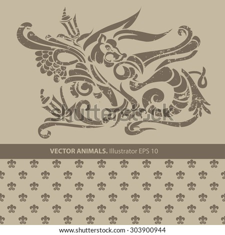 Heraldic animal and ornament. Vector set - stock vector