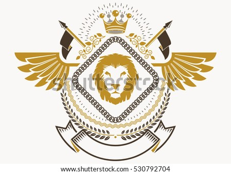 Heraldic Coat of Arms decorative emblem with bird wings, vector illustration of royal crown and Christian cross