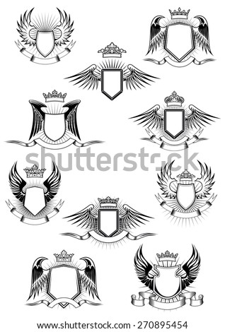 Heraldic coat of arms templates with medieval winged shields decorated royal crowns and blank ribbon banners - stock vector