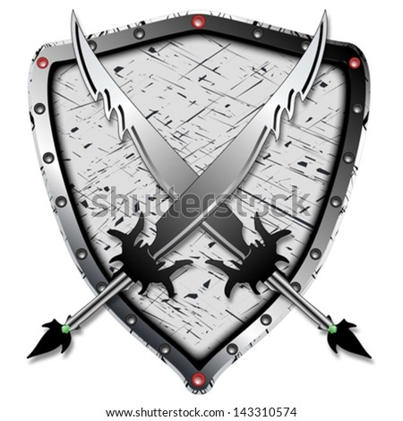 heraldic design with shadowed swords and shield against white background, abstract vector art illustration, image contains transparency - stock vector
