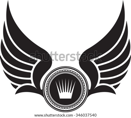 Heraldic design with wings and crown  - stock vector