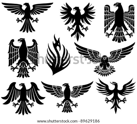 heraldic eagle set (eagle silhouettes, heraldic design elements, eagle vector collection) - stock vector