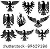 heraldic eagles set - stock vector