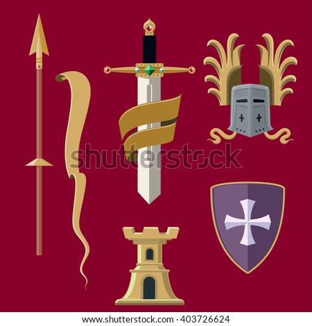 Heraldic elements. Collection of medieval knights armor and weapon. Vector illustration - stock vector