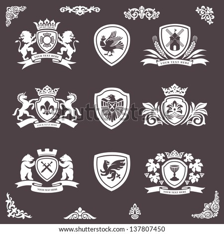 heraldic elements vector set - stock vector