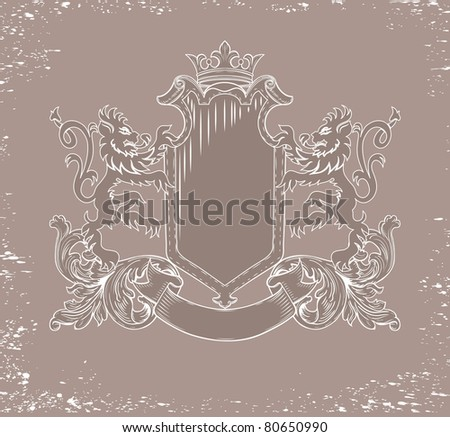 heraldic emblem with the lions and cheat - stock vector
