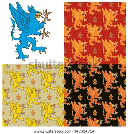 Heraldic figure of a mythical animal - a griffin. Seamless texture containing images of the griffins. Vector illustration - stock vector