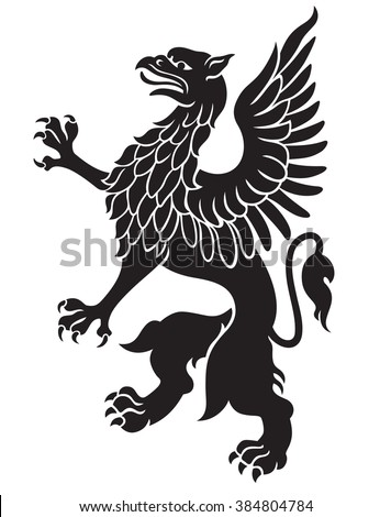 Heraldic griffin black with wings isolated on white background vector - stock vector