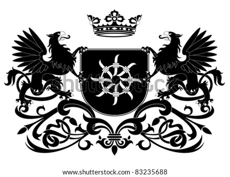 Heraldic griffin. Coat of arms isolated on white background - stock vector