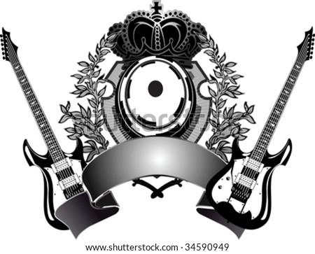 Heraldic Guitar - stock vector