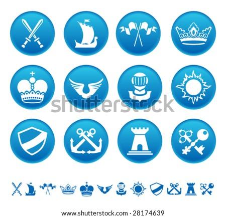 Heraldic icons - stock vector