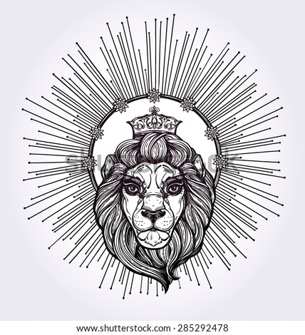 Heraldic Lion Head with crown and rays of light as a halo . Isolated Vector illustration. Hand drawn lion in vintage engraved style. Line art tattoo template. Scrapbook sample. Symbol of pride, glory. - stock vector