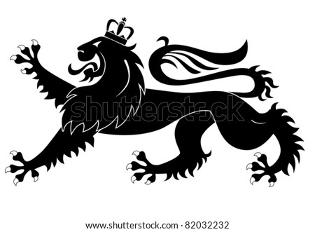 Heraldic lion isolated on white background - stock vector