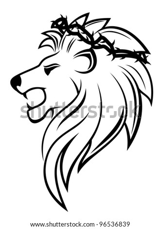 Heraldic lion with thorny wreath for heraldry design. Jpeg version also available in gallery