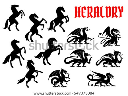 Heraldic mythical animals emblems. Vector silhouette icons of horse  and unicorn, griffin and dragon heraldry for tattoo, shield insignia