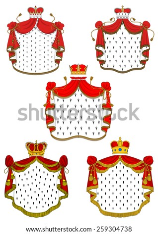 Heraldic red royal mantles set with silk, crowns and golden embellishments - stock vector
