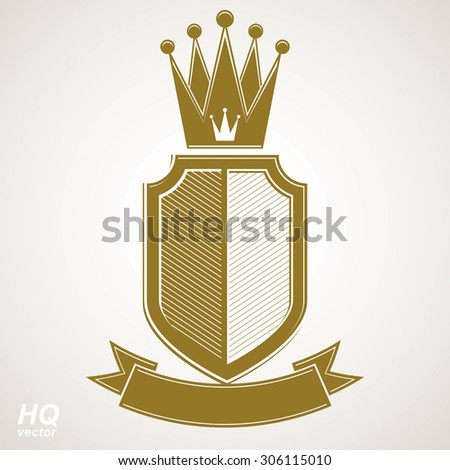 Heraldic royal blazon illustration - imperial striped decorative coat of arms. Vector shield with king crown and stylized ribbon. Majestic element, best for use in graphic and web design. - stock vector