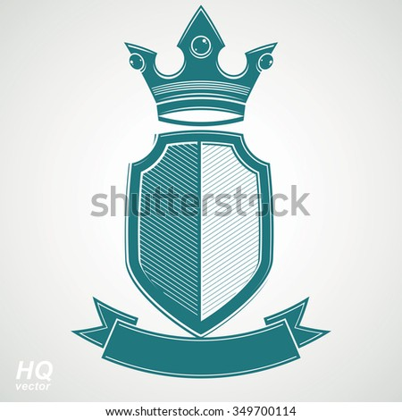 Heraldic royal blazon illustration, imperial striped decorative coat of arms. Vector shield with king crown and stylized ribbon. Majestic element, best for use in graphic and web design. - stock vector