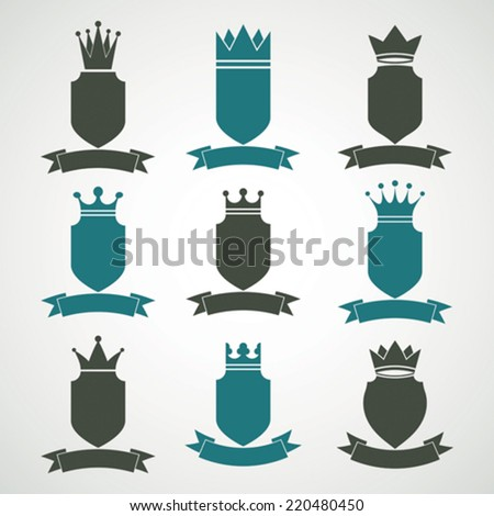 Heraldic royal blazon illustrations set - imperial striped decorative coat of arms. Collection of vector shields with king crown and stylish ribbon. Majestic element, best for use in graphic design. - stock vector