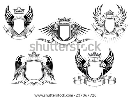 Heraldic royal coat of arms and shields with ornate crowns, wings, ribbon banners and light rays on white background - stock vector