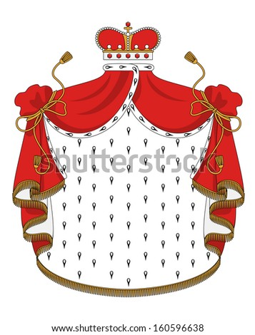 Heraldic royal mantle with golden crown for design. Jpeg version also available in gallery - stock vector