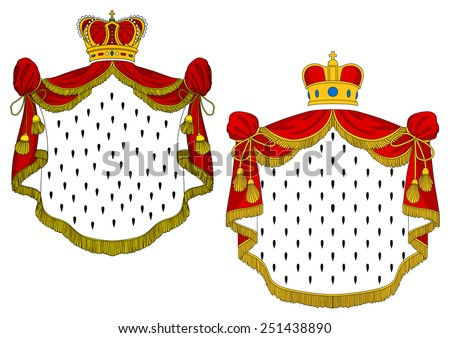 Heraldic royal mantles with red silk, golden crowns and decorative elements - stock vector