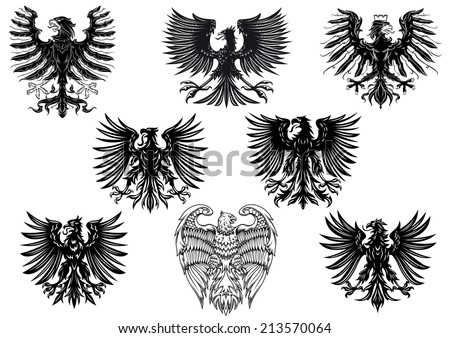 Heraldic royal medieval eagles for retro heraldry design isolated on white background - stock vector