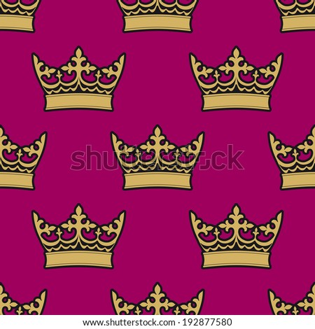 Heraldic seamless pattern with gold royal crowns on purple background - stock vector