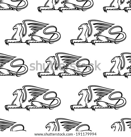 Heraldic seamless pattern with medieval gryphon animals - stock vector