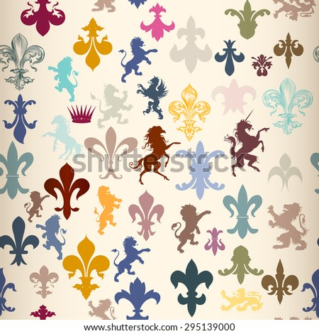 Heraldic seamless wallpaper pattern with lions, horses, griffins and fleur de lis - stock vector