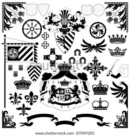 Heraldic set for your design projects isolated on white background - stock vector