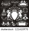 Heraldic set with horses - stock vector