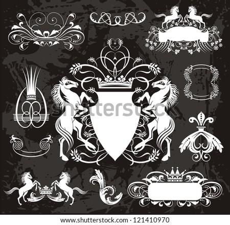 Heraldic set with horses - stock vector