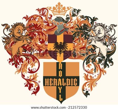 Heraldic shield in vintage style for design - stock vector