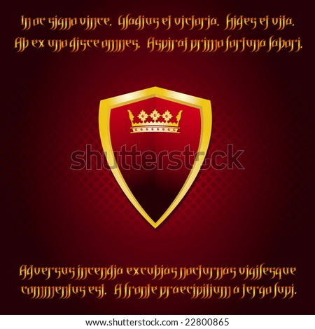 Heraldic shield with ruby studded crown on a medieval background with latin text