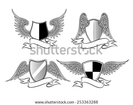 Heraldic shield with wings and ribbons for a logo, emblem, symbol or tattoo. Vector illustration - stock vector