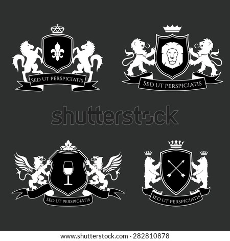 Heraldic signs, elements, insignia on grey background. Vector set - stock vector