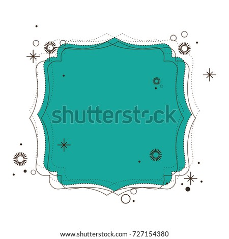 heraldic silhouette decorative frame in aged blue color vector illustration