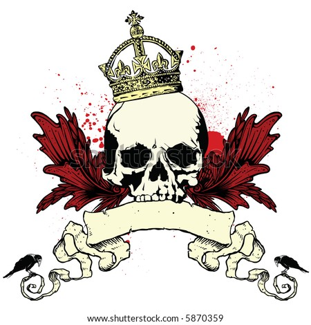 heraldic skull with crown - stock vector