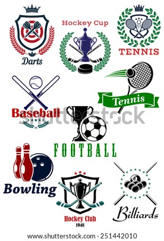 Heraldic sporting emblems or badges for darts, hockey, tennis, baseball, football, bowling and billiards sports design