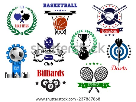 Heraldic sports emblems, symbols and design with darts, baseball, billiards, bowling, basketball, soccer, tennis, ice hockey, table tennis with equipments, laurel wreaths, stars and ribbon banners - stock vector