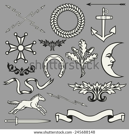 Heraldic symbols and elements  - stock vector