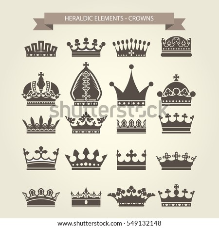 Heraldic symbols - royal crowns icon set