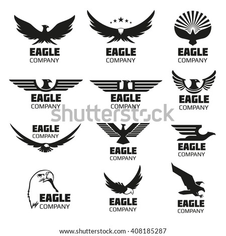 Heraldic symbols with eagle silhouettes. Vector eagle emblems or eagle logos set for company logo or brand logotype with eagle bird - stock vector